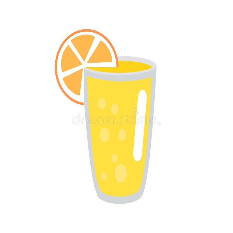 Limonata con la fetta arancio nell'illustrazione di vetro royalty illustrazione gratis