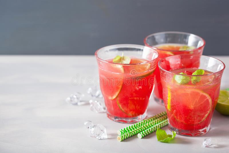 Limonata dell'anguria con calce e la menta, bevanda di rinfresco di estate immagine stock libera da diritti