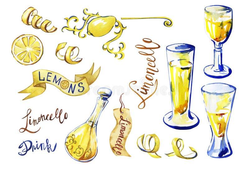 Limoncello casalingo tradizionale del liquore del limone di Italiann illustrazione di stock