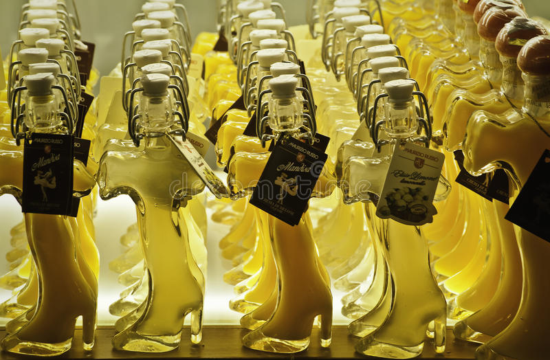 Limoncello. Is an Italian lemon liqueur mainly produced in Southern Italy, especially in the region around the Gulf of Naples, the Sorrentine Peninsula and the stock photo