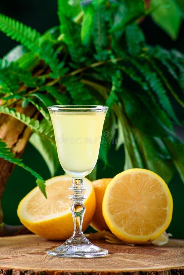 Limoncello sur le fond et les citrons verts de nature de feuille image libre de droits