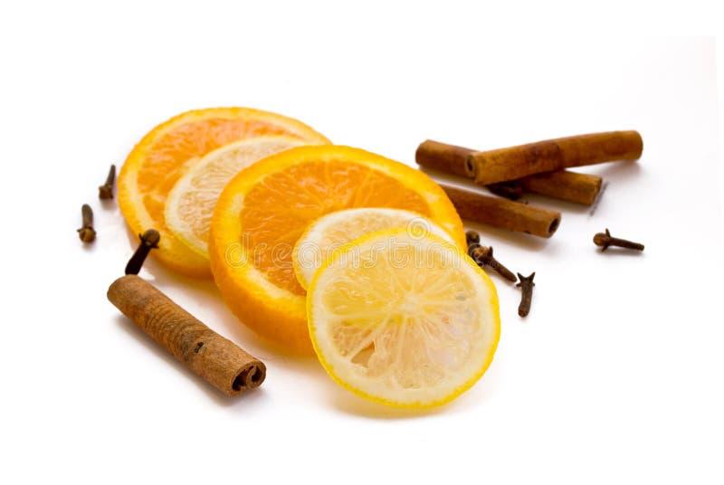 Limone, arancio e cannella fotografia stock