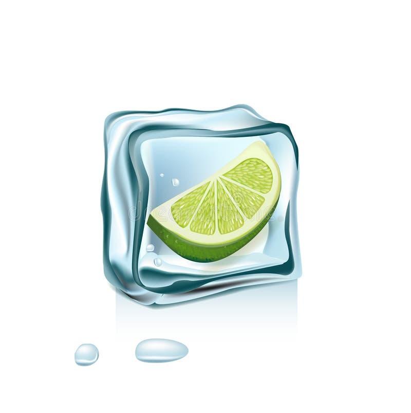 Limone in cubetto di ghiaccio isolato su bianco illustrazione di stock