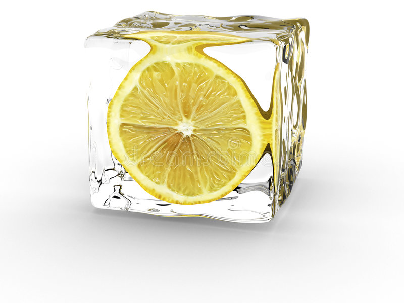 Limone in cubo di ghiaccio fotografia stock