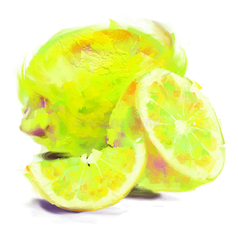 Limone del disegno con una fetta royalty illustrazione gratis