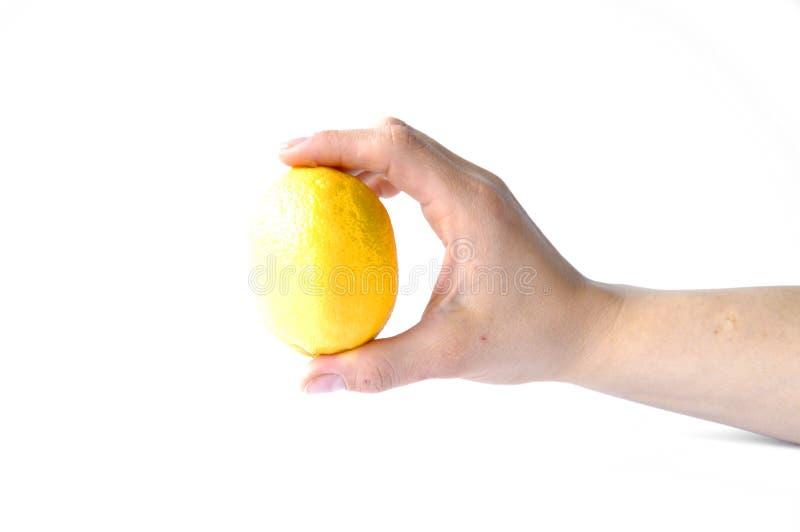 Limone a disposizione su fondo bianco immagini stock libere da diritti