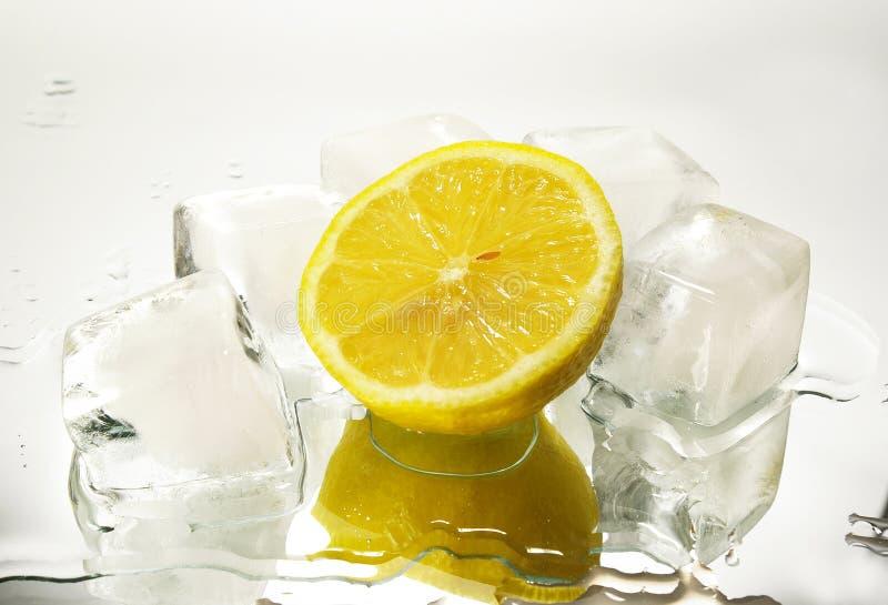 Limone e cubo cristal di ghiaccio immagine stock libera da diritti