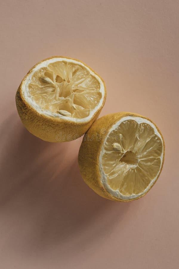 Limone secco estetico su un fondo color crema fotografia stock libera da diritti
