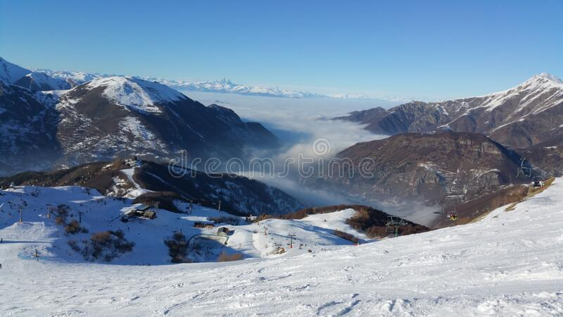 Limone ski slopes. Travel view of Limone featuring ski slopes. The image location is Piedmont in Italy, Europe royalty free stock image
