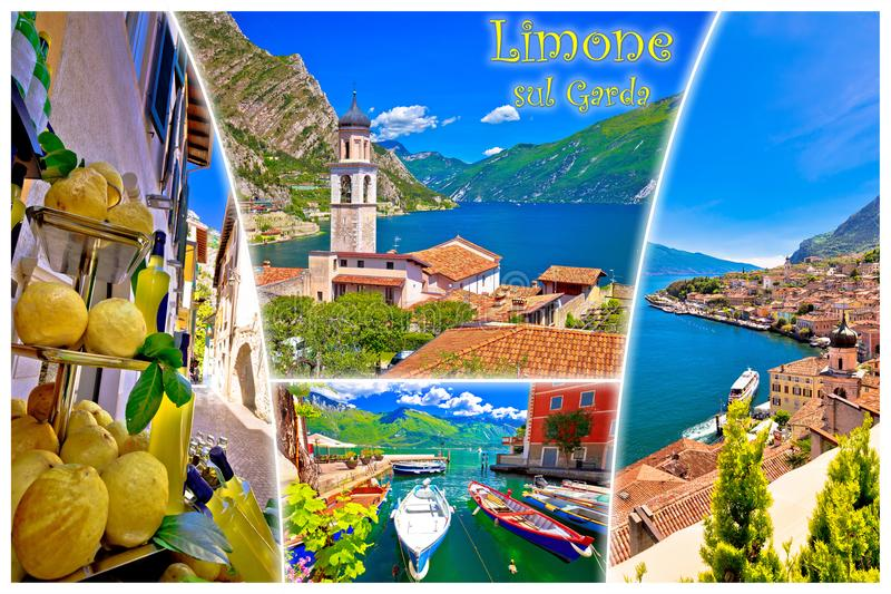 Limone sul Garda collage postcard with label stock photography