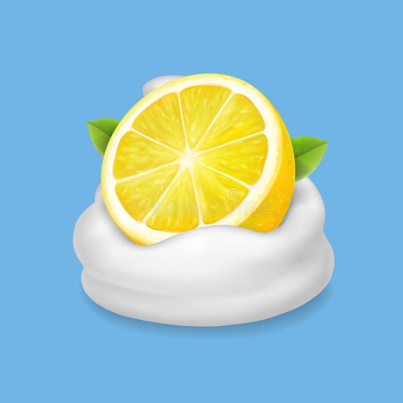 Limone in yogurt o nel vettore crema montato illustrazione vettoriale