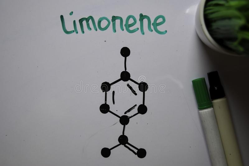 Limonene. Colorless liquid hydrocarbon molecule write on the white board. Structural chemical formula. Education concept stock photo