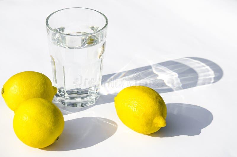 Limones, menta verde fresca y un vidrio de cristal con agua en un fondo blanco Sombras en un fondo blanco imagenes de archivo