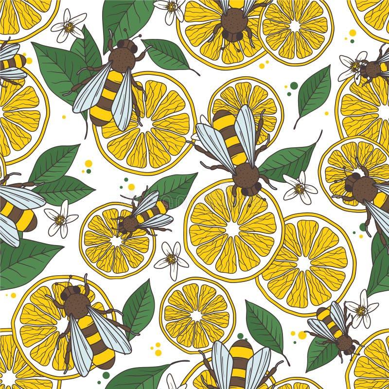 Limoni, api e foglie, fondo disegnato a mano decorativo Modello senza cuciture variopinto con gli agrumi e gli insetti di volo illustrazione vettoriale