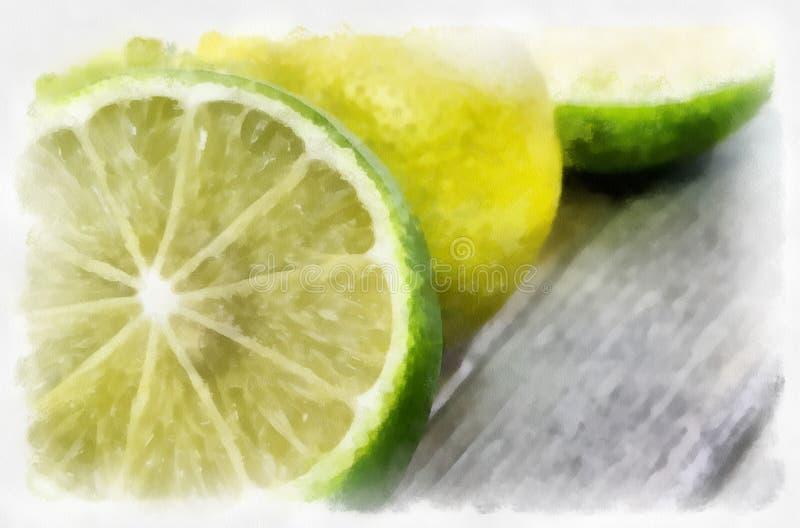 Limoni con la pittura asciutta della spazzola fotografia stock