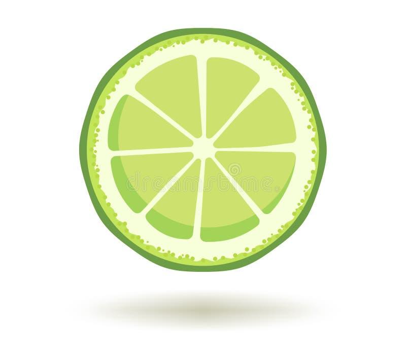 Limoni e limetta Vitamina C Illustrazione di vettore della fetta succosa matura fresca della calce con un'ombra isolata su un fon illustrazione vettoriale