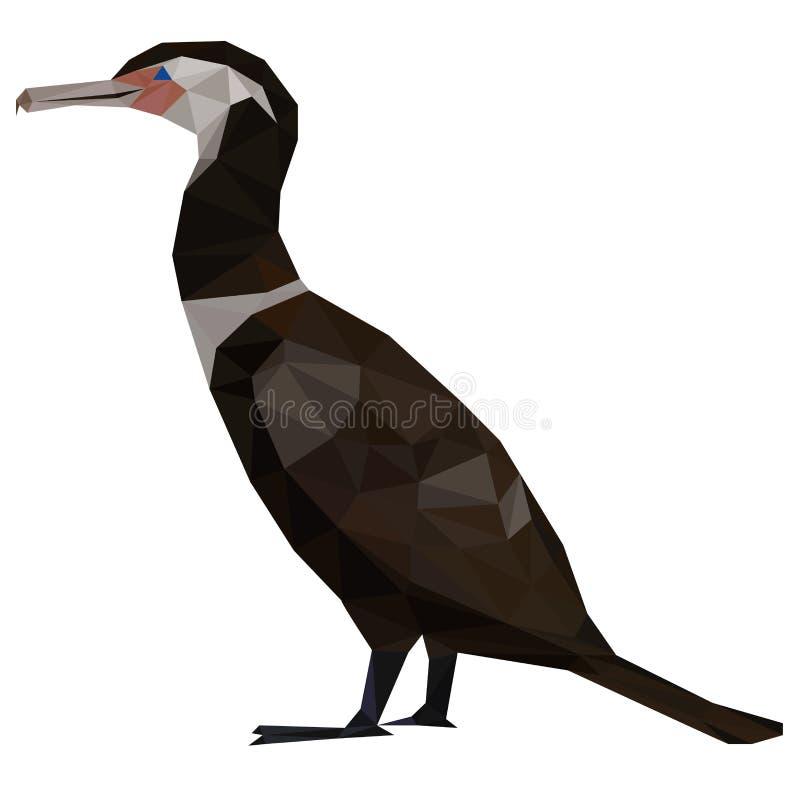 Minimalistic low poly extincted bird Limosavis velox. Colorful polygonal style design of an prehistoric extincted duck bird Limosavis velox vector illustration