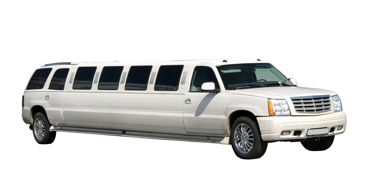 Limousine. White limousine isolated on white royalty free stock images