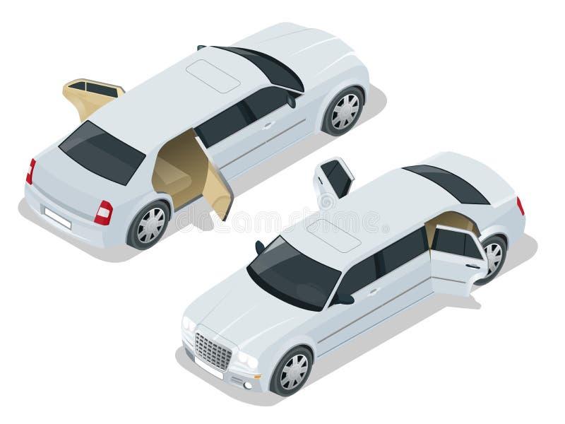 Limousine blanche avec des portes ouvertes Voiture de VIP Illustration isométrique de vecteur Icône de limousine, signe Conceptio illustration stock