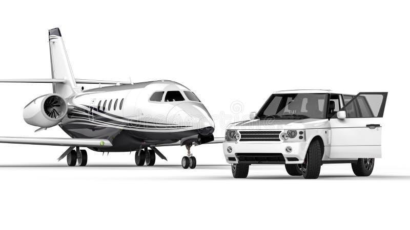 Limousine blanche de SUV avec un jet privé illustration de vecteur