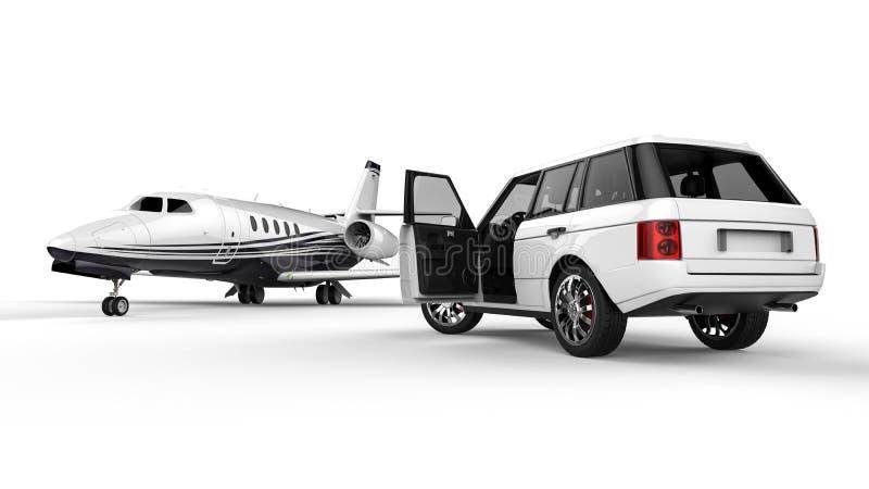 Limousine blanche de SUV avec un jet privé illustration stock