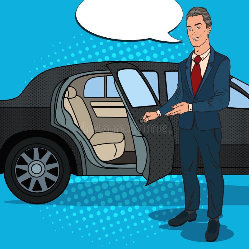 Limousine del nero del ner di Standing del driver Autista dell'automobile di lusso Illustrazione di Pop art illustrazione vettoriale