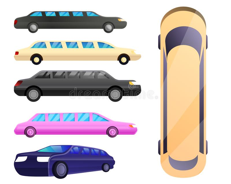 Limousine icons set, cartoon style vector illustration