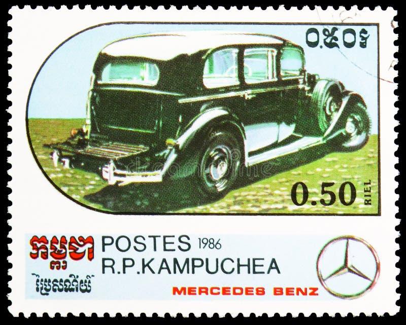 Limousine - 1935, Jahrhundert des Bewegungsmotor- Mercedes Benz Models-serie, circa 1986 stockfotografie
