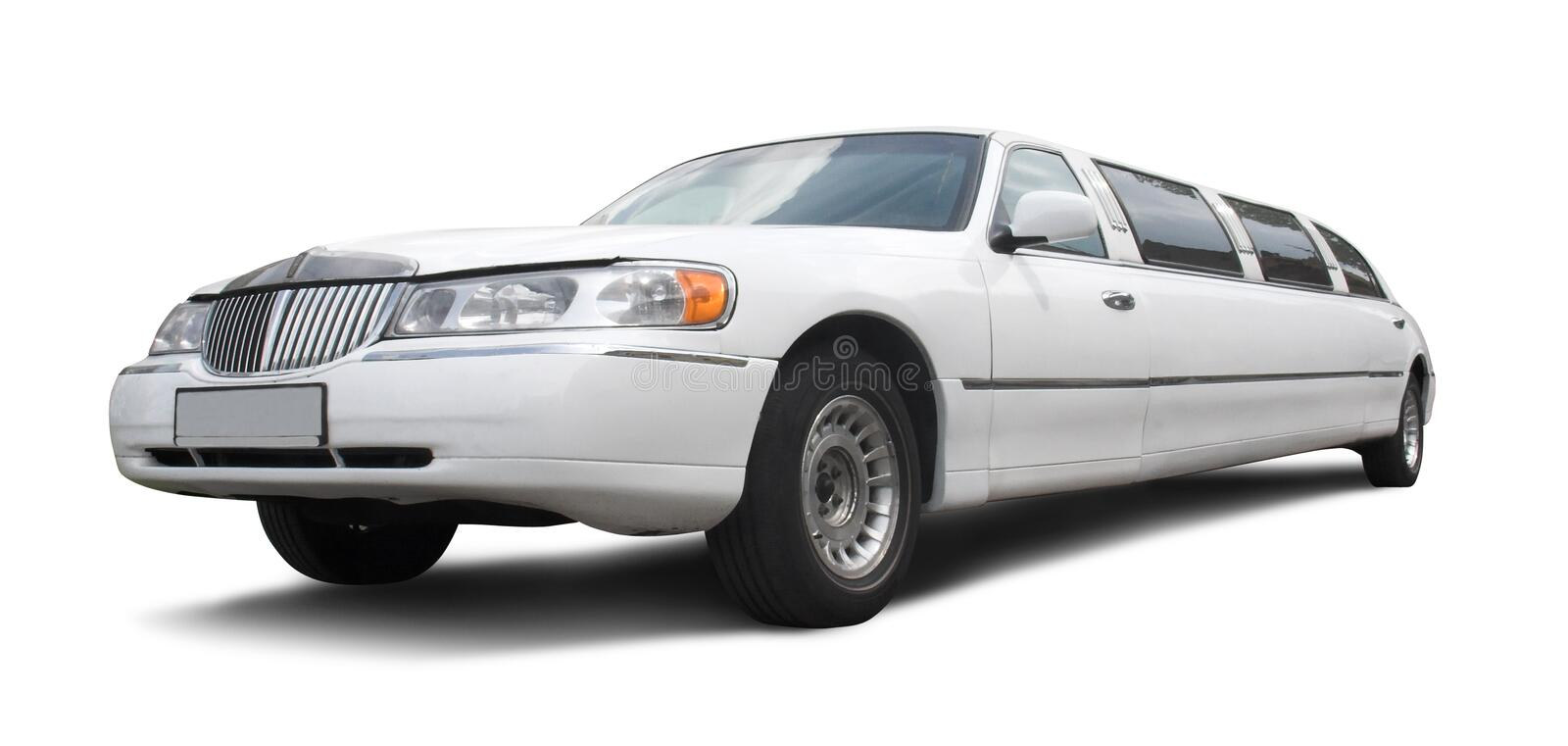 Long white limousine stock images