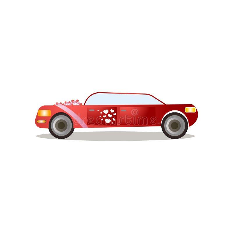 Limousine moderne de couleur rouge avec les rubans et les autocollants rouges de coeur illustration libre de droits