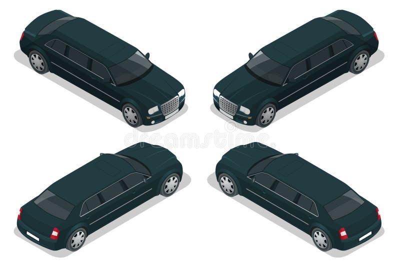 Limousine nere Automobile di VIP Illustrazione isometrica piana 3d di vettore Icona delle limousine, segno Progettazione semplice royalty illustrazione gratis