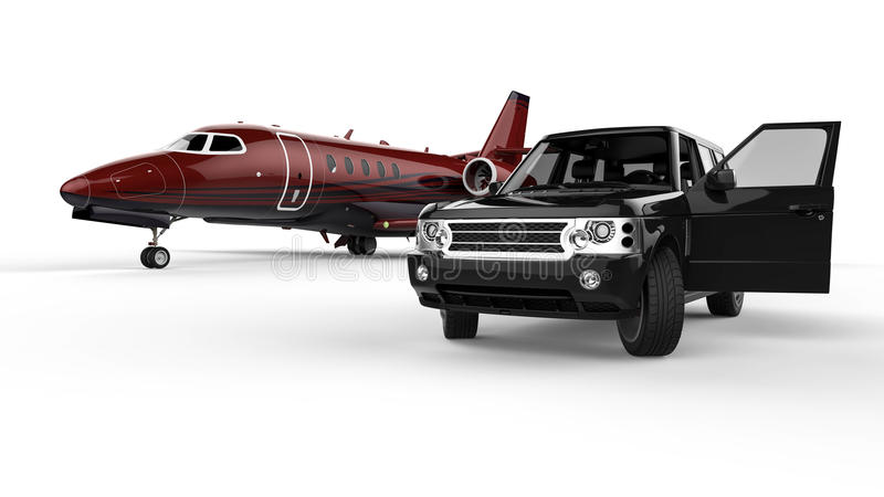 Limousine noire de SUV avec un jet privé illustration libre de droits