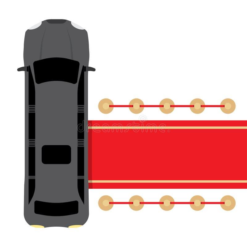 Limousine noire garée près du tapis rouge illustration de vecteur