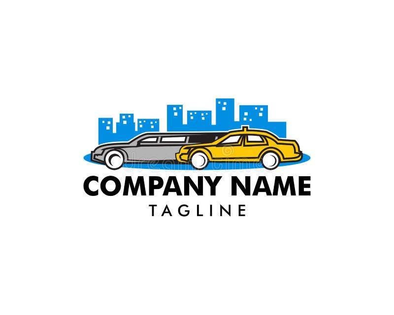 Limousine och taxi Logo Vector Illustration, kontur av bilen, automatiskt designbegrepp vektor illustrationer