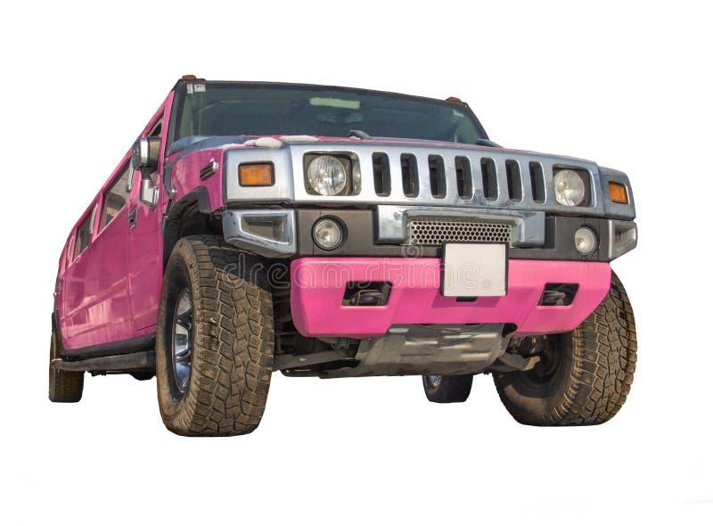 Limousine rosa dell'automobile isolate immagine stock