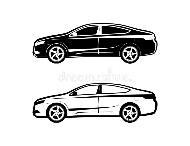 Limousineauto Ikone stellte von der Seitenansicht in Schwarzweiss ein lizenzfreie abbildung