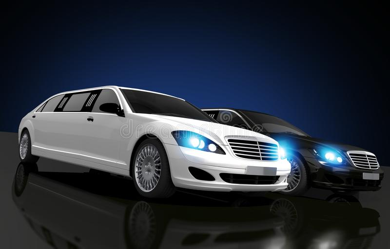 Limousines για τη μίσθωση απεικόνιση αποθεμάτων
