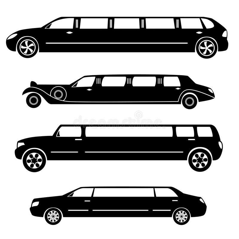 Limousines silhouettes collection royalty free illustration