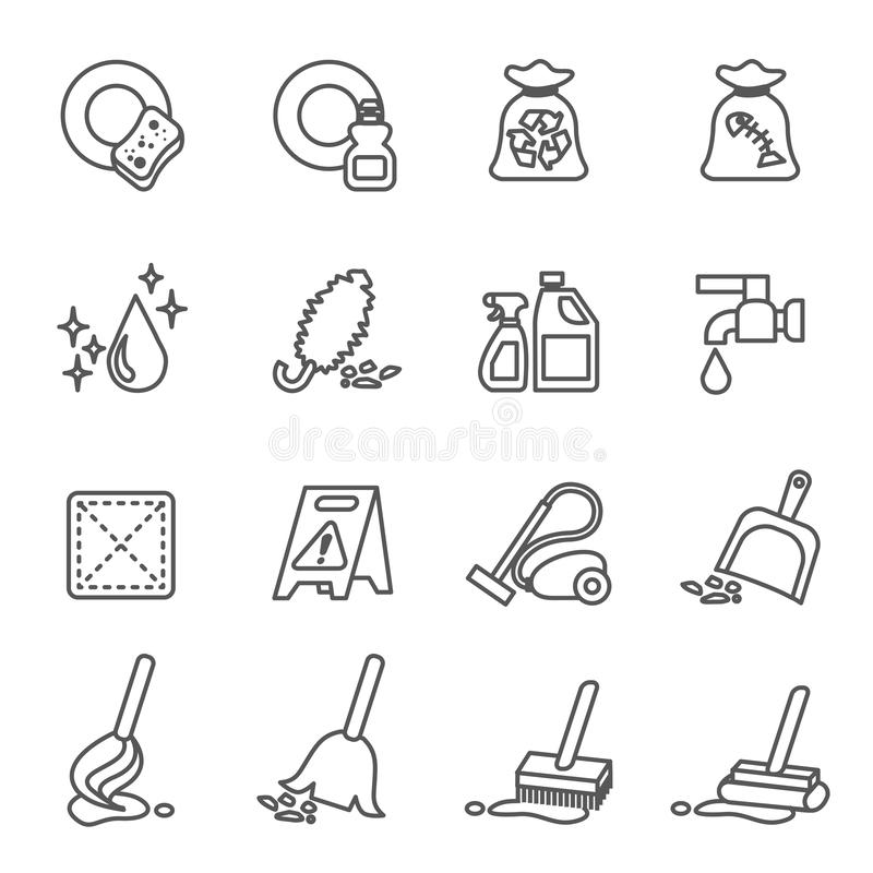 Limpa, limpeza, limpeza de casas, lavagem, lavagem, limpeza de lavagem, ícones de limpeza definidos com fundo branco ilustração royalty free