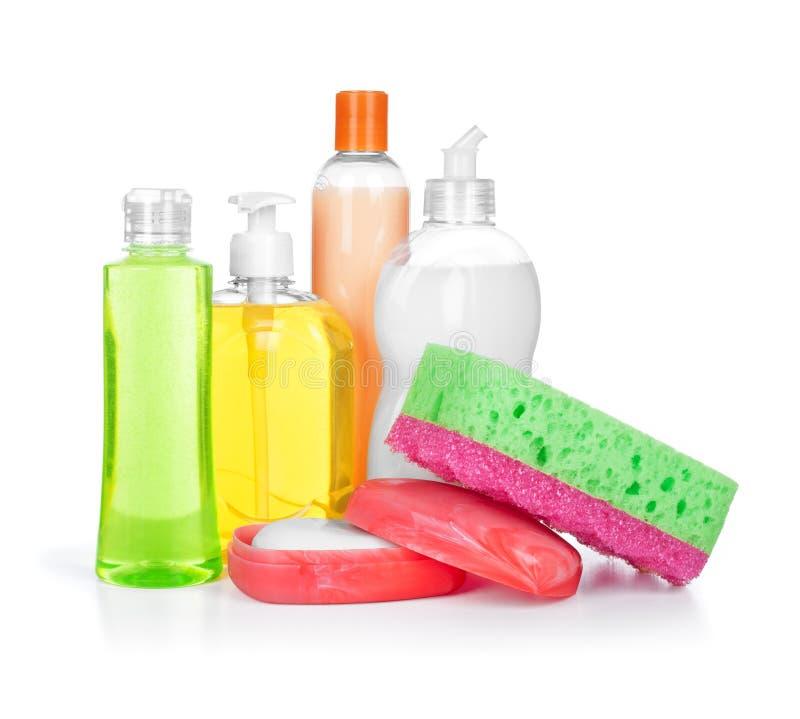 Limpadores e sabão do produto químico de agregado familiar no prato de sabão fotos de stock
