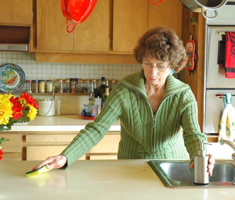 Limpando a cozinha imagens de stock royalty free
