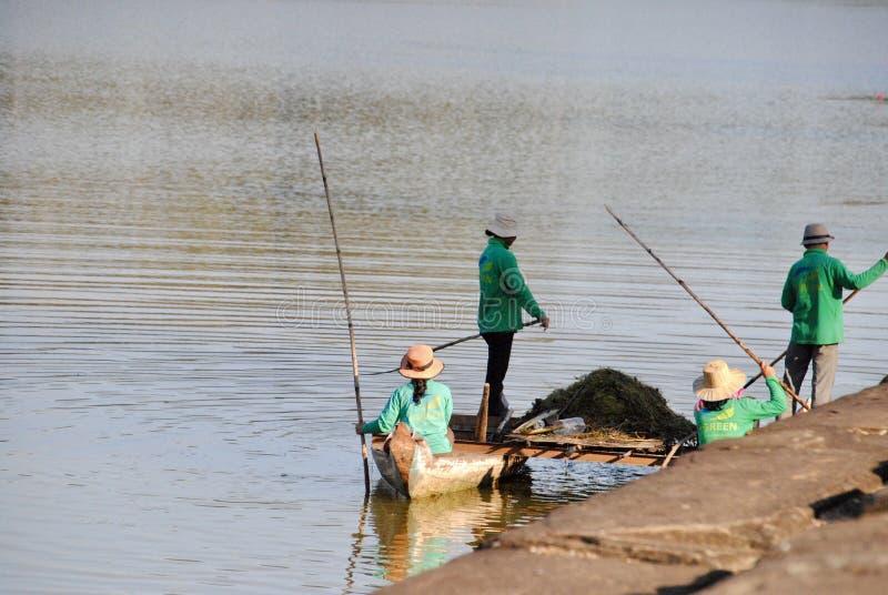 Limpando o lago imagem de stock