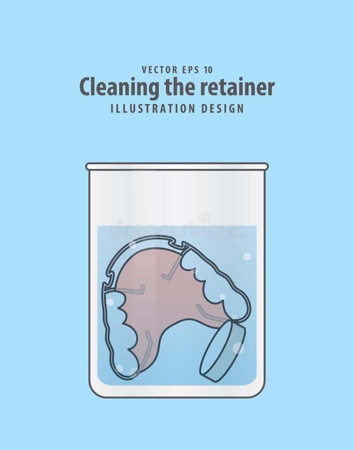 Limpando o retentor no vidro com o vect da ilustração da tabuleta ilustração stock