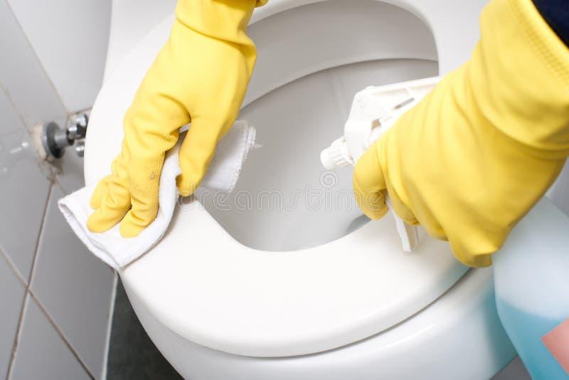 Limpando um WC imagem de stock