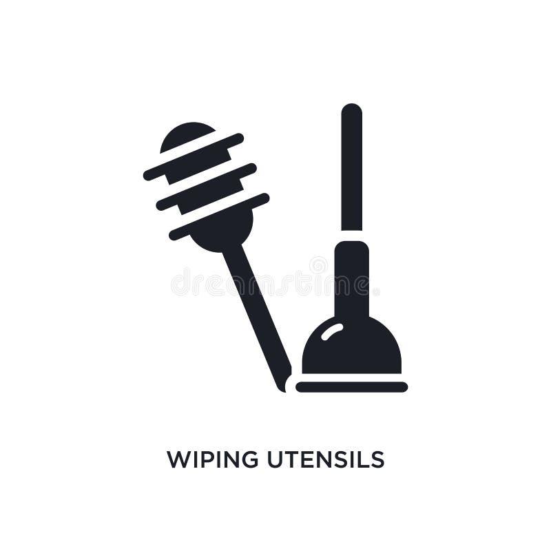 limpando utensílios do ícone isolado banheiro ilustração simples do elemento dos ícones de limpeza do conceito limpando utensílio ilustração royalty free