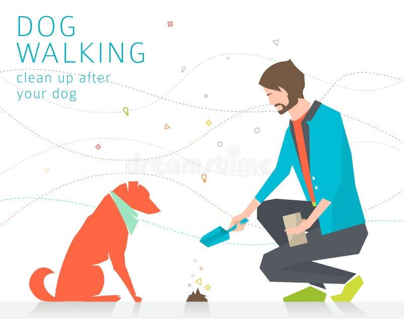 Limpar após o cão ilustração do vetor