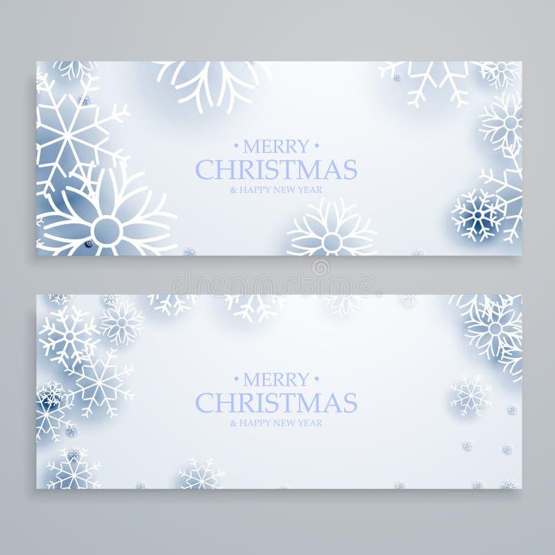 Limpe as bandeiras brancas do Feliz Natal ajustadas com os flocos de neve ilustração do vetor