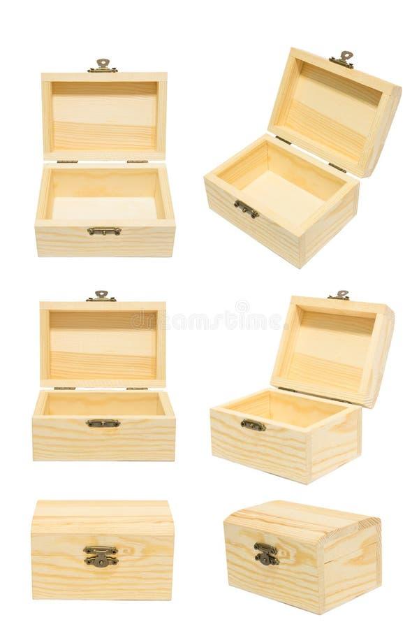 Limpe caixa de madeira fechado/aberta do vintage da variação do ângulo da caixa da caixa foto de stock royalty free