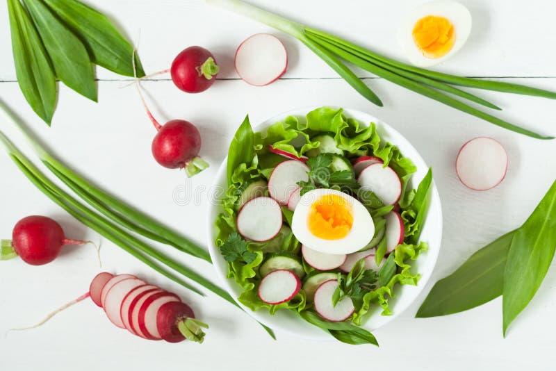 Limpe comer crus maduros da salada da mola do alimento vith imagens de stock