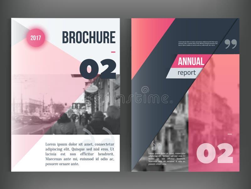Limpe o informe anual do vetor Molde do folheto, projeto da disposição da capa do livro, moldes vermelhos da apresentação do triâ ilustração do vetor